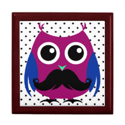 Large 7.125' Square w/6' Tile Gift Box with Cartoon Owls with Mustaches design