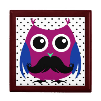 Retro Funny Owl with Handlebar Mustache Gift Box