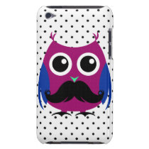 Retro Funny Owl with Handlebar Mustache iPod Touch Case