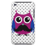Retro Funny Owl with Handlebar Mustache iPod Touch Covers