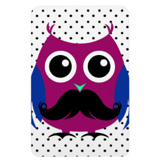 Retro Funny Owl with Handlebar Mustache Magnet