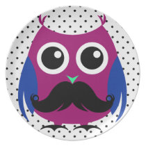 Retro Funny Owl with Handlebar Mustache Plate