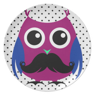 Retro Funny Owl with Handlebar Mustache Plates