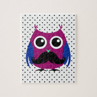 Retro Funny Owl with Handlebar Mustache Jigsaw Puzzle