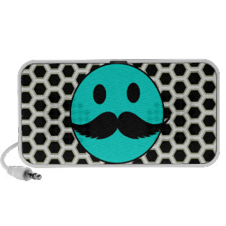 Retro Funny Smiley Face with Mustache Stache Speakers