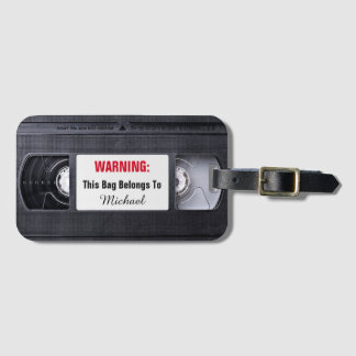 Retro Funny Vintage VHS Cassette Tape Old Fashion Bag Tag