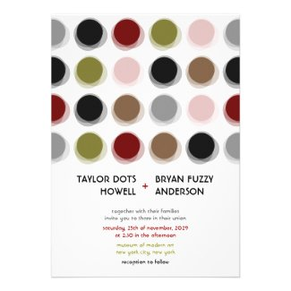 Retro Fuzzy Dots Colorful Mod Art Wedding Invite