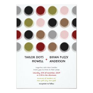 """Retro Fuzzy Dots Colorful Mod Art Wedding Invite 5"""" X 7"""" Invitation Card"""