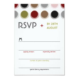 "Retro Fuzzy Dots Colorful Mod Art Wedding RSVP 3.5"" X 5"" Invitation Card"