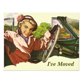 Retro Gal In Car I've Moved Move Announcement