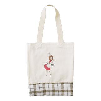 Retro Gal Tote Bag with Plaid Fabric Appliqué