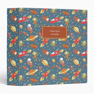 Retro Galaxy Outer Space Rockets & Astronauts Binder