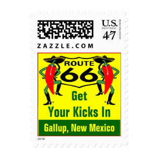 Retro Gallup NM Red Chile Route 66 Vintage Road Postage