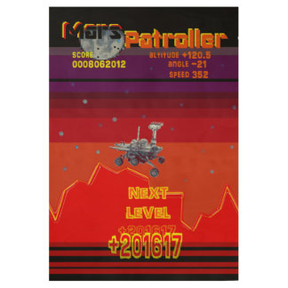 Retro Game 80 style Mars Patroller Wood Poster