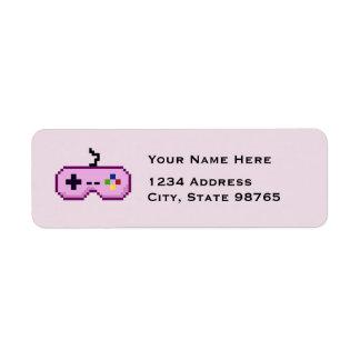 Retro Game Controller Return Pink Address Labels