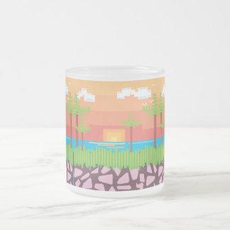 Retro Game - Tropical Beach Frosted Glass Coffee Mug