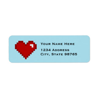 Retro Gamer 8Bit Heart Address Labels