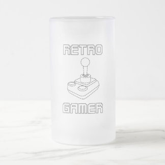 RETRO GAMER CUP 16 OZ FROSTED GLASS BEER MUG