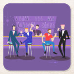 "Retro Gay Bar Hard Paper Coaster<br><div class=""desc"">This Retro Gay Bar Hard Paper Coaster design is purple, kitschy, and utterly fabulous! Sitting on mid century modern barstools, drinking their fun, pink beverages, these dapper gentlemen are having a gay ol' time. The hunky bartender with a pink bowtie is already pouring the next round. The silhouettes of atomic...</div>"