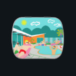 """Retro Gay Pool Party Candy Tin<br><div class=""""desc"""">This Retro Gay Pool Party Candy Tin design features four hunky beefcakes having a gay old time as they beat the Palm Springs heat by lounging around the turquoise blue water of their atomic boomerang shaped swimming pool. The mid century modern architecture on the fabulous, orange stone house is clearly...</div>"""