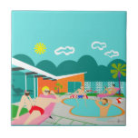"""Retro Gay Pool Party Ceramic Tile<br><div class=""""desc"""">This Retro Gay Pool Party Ceramic Tile features four hunky beefcakes having a gay old time as they beat the Palm Springs heat by lounging around the turquoise blue water of their atomic boomerang shaped swimming pool. The mid century modern architecture on the fabulous, orange stone house is clearly prime...</div>"""