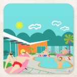 "Retro Gay Pool Party Hard Paper Coaster<br><div class=""desc"">This Retro Gay Pool Party Hard Paper Coaster features four hunky beefcakes having a gay old time as they beat the Palm Springs heat by lounging around the turquoise blue water of their atomic boomerang shaped swimming pool. The mid century modern architecture on the fabulous, orange stone house is clearly...</div>"