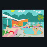 "Retro Gay Pool Party Laminated Placemat<br><div class=""desc"">This Retro Gay Pool Party Laminated Placemat design features four hunky beefcakes having a gay old time as they beat the Palm Springs heat by lounging around the turquoise blue water of their atomic boomerang shaped swimming pool. The mid century modern architecture on the fabulous, orange stone house is clearly...</div>"