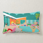 "Retro Gay Pool Party Lumbar Pillow<br><div class=""desc"">This Retro Gay Pool Party Lumbar Pillow features four hunky beefcakes having a gay old time as they beat the Palm Springs heat by lounging around the turquoise blue water of their atomic boomerang shaped swimming pool. The mid century modern architecture on the fabulous, orange stone house is clearly prime...</div>"