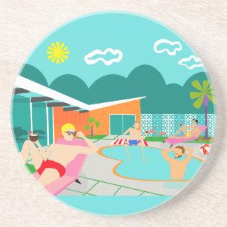 Retro Gay Pool Party Sandstone Coaster