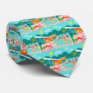Retro Gay Pool Party Tiled Necktie
