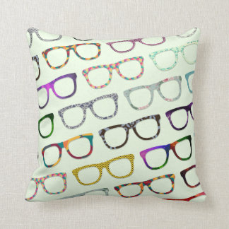 Retro Geek Hipster Glasses Pattern pillow