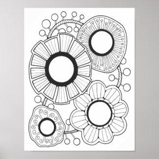 Retro Gem Flower Cardstock Adult Coloring Page Poster