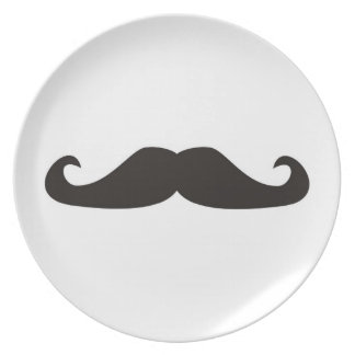 Retro gentelman mustaches hipsters plate
