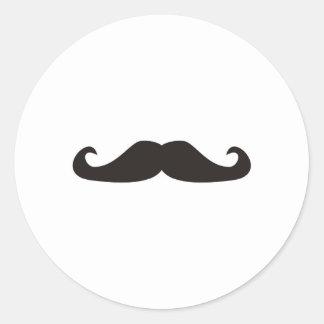 Retro gentelman mustaches illustration classic round sticker