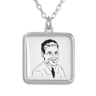 Retro Gentleman 50s Guy Square Pendant Necklace