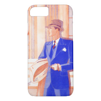 Retro Gentleman in Blue Suit 1930s / 1940s French iPhone 7 Case