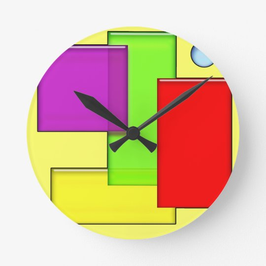 Retro Geometric Blocks Modern Art Clock