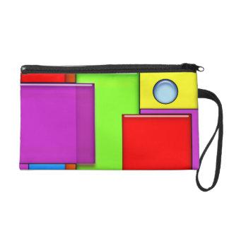 Retro Geometric Blocks Modern Art Wrist Bags Wristlet Purse