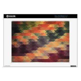 Retro Geometric Bold Stripes Worn Colors Acer Chromebook Decals