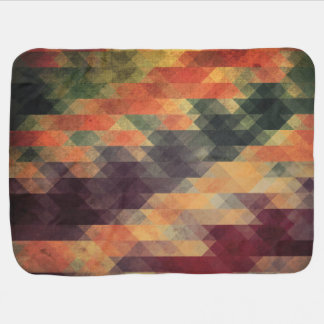 Retro Geometric Bold Stripes Worn Colors Baby Blanket