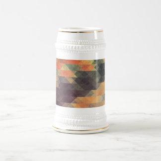Retro Geometric Bold Stripes Worn Colors Beer Stein