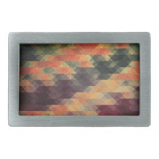 Retro Geometric Bold Stripes Worn Colors Belt Buckle