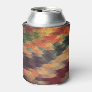 Retro Geometric Bold Stripes Worn Colors Can Cooler