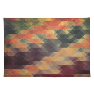 Retro Geometric Bold Stripes Worn Colors Cloth Placemat