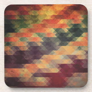 Retro Geometric Bold Stripes Worn Colors Coaster