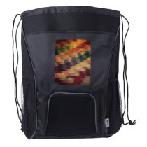 Retro Geometric Bold Stripes Worn Colors Drawstring Backpack