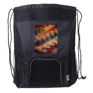 Retro Geometric Bold Stripes Worn Colors Drawstring Backpack