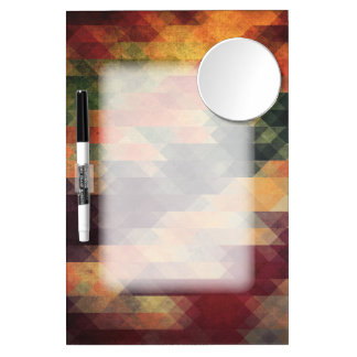 Retro Geometric Bold Stripes Worn Colors Dry Erase Board With Mirror