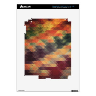 Retro Geometric Bold Stripes Worn Colors iPad 3 Skins