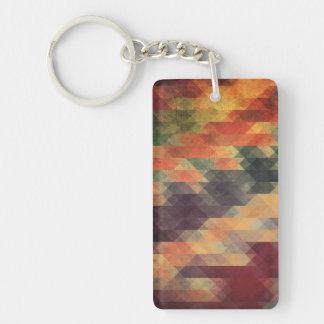 Retro Geometric Bold Stripes Worn Colors Double-Sided Rectangular Acrylic Keychain